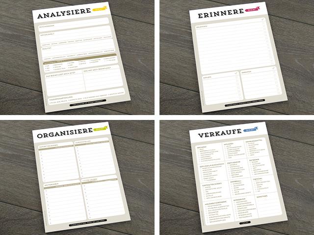 Design Verlag Notizblöcke Analysiere Dich Erinnere Dich Organisiere Dich Verkaufe Dich