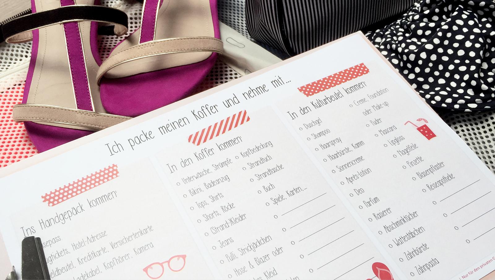 Freebie: Urlaubs-Packliste & Kofferanhänger