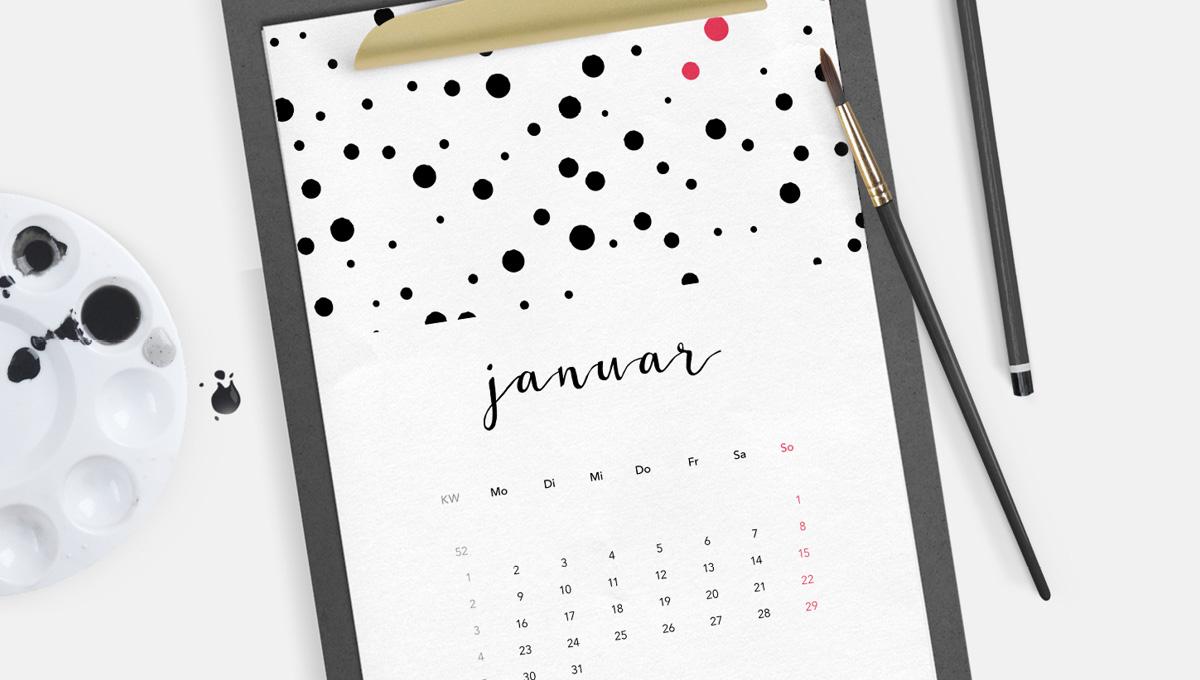 Kalender Kalendarium Kalenderblatt Freebie 2017